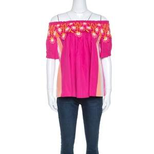 Peter Pilotto Pink Cotton Lace Detail Panelled Off-Shoulder Top L