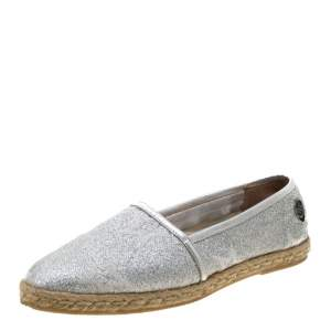 Philipp Plein Metallic Silver Glitter Fabric And Leather Trim Star Espadrilles Size 38.5