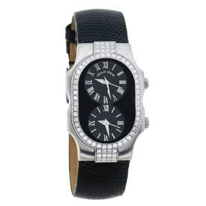 Philip Stein Black Stainless Steel Leather Diamond Signature Teslar Dual Time Women's Wristwatch 24 mm