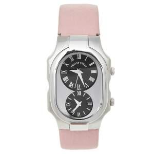 Philip Stein Black Stainless Steel Leather Signature Women's Wristwatch 32 mm