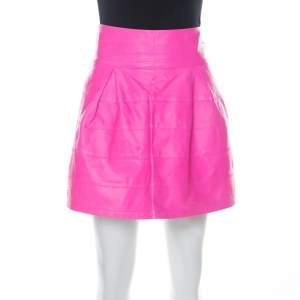 Philipp Plein Neon Pink Lamb Skin Mini Skirt M