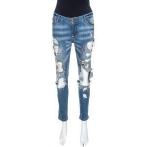 Philipp Plein Illegal Fight Club Blue Distressed Denim Straight Supreme Jeans S