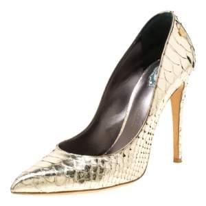 Philipp Plein Metallic Gold Python Studded Pointed Toe Pumps Size 40