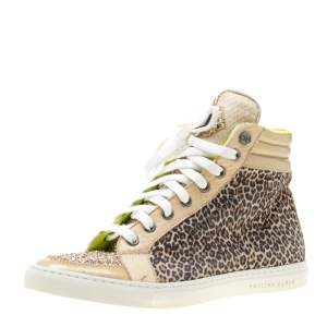 Philipp Plein Leopard Print Suede And Python Leather Jungle Glitter High Top Sneakers Size 38.5
