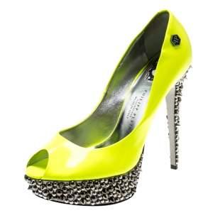 Philipp Plein Neon Green Patent Leather Peep Toe Spike Platform Pumps Size 38