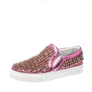 Phillip Plein Pink Leather and Glitter Spike Gall Slip On Sneakers Size 37
