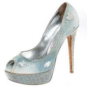 Phillip Plein Blue Crystal Embellished Distressed Denim Peep Toe Platform Pumps Size 39