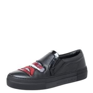 Phillip Plein Black Leather Busybody Slip On Sneakers 38