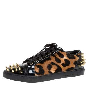 Philipp Plein Black/Brown Leopard Print Calf Hair And Patent Leather Spike Embellished Low Top Sneakers Size 38