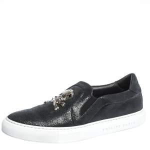 Philipp Plein Black Leather Slip On Sneakers Size 40