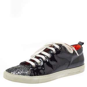 Philipp Plein Black Patent Leather Skull Glittered Cap Toe Low Top Sneakers Size 40.5