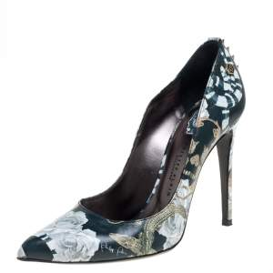 Philipp Plein Green Printed Leather Spike Pumps Size 39