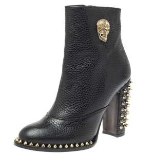 Philipp Plein Black Leather Skull Embellished/Studded Ankle Boots Size 39