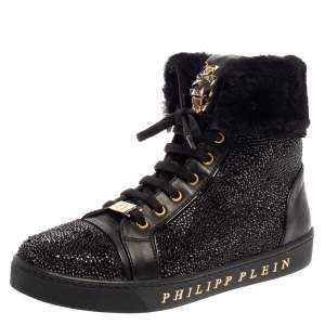 Philipp Plein Black Leather And Suede Crystal Embellished Fur Trim High Top Sneakers Size 39