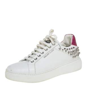 Phillip Plein White/Pink Leather Studded So Cute Sneakers Size 37