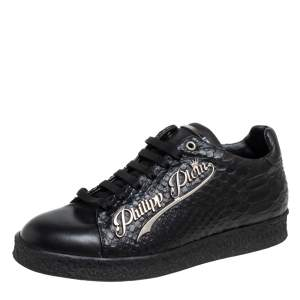 Philipp Plein Black Python Embossed Leather Low Top Sneakers Size 39