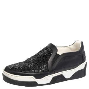 Philipp Plein Black Leather Crystal Embellishment Low Top Sneakers Size 41