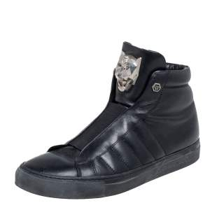 Philipp Plein Black Leather High Top Sneakers Size 39
