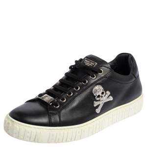 Phillip Plein Black Leather Skull Embellished Low Top Sneakers Size 40