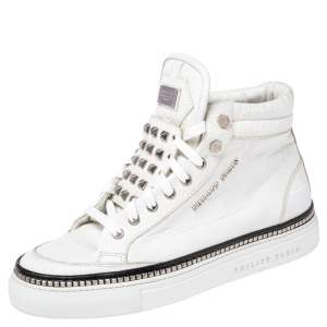 Phillip Plein White Croc Embossed Leather Crazy High Top Sneakers Size 40