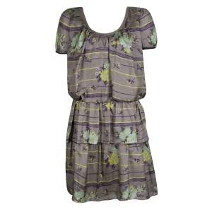 Philosophy di Alberta Ferretti Grey Floral Printed Silk Tiered Dress S