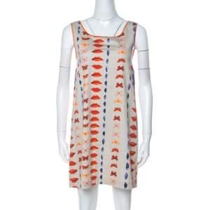 Philosophy di Alberta Ferretti Beige & Multicolor Printed Cotton Sleeveless Shift Dress M