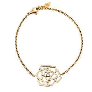 Piaget Diamond Rose Motif 18K Yellow Gold Chain Link Bracelet
