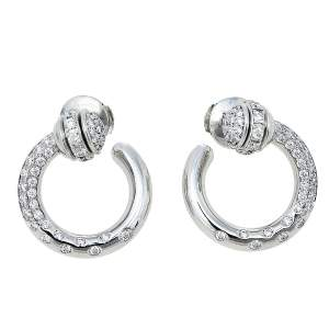Piaget Possession Diamond 18K White Gold Open Hoop Earrings