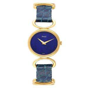 Piaget Blue Lapis 18K Yellow Gold Classique 9451 Women's Wristwatch 27x23 MM