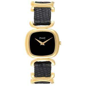 Piaget Black Onyx 18K Yellow Gold Solo Tempo 9451 Women's Wristwatch 26x23 MM