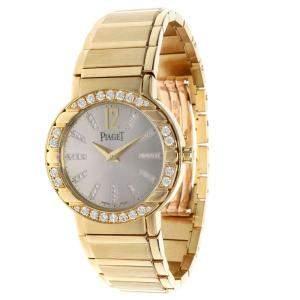 Piaget Silver Diamonds 18K Yellow Gold Polo GOA26032 Women's Wristwatch 28 MM