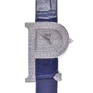 Piaget Silver Diamond 18K White Gold P-Shaped Women's Wristwatch 32 MM