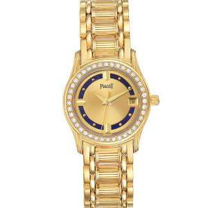 Piaget Champagne Diamonds 18K Yellow Gold Polo Lapis Lazuri 22005 Women's Wristwatch 26.5 MM
