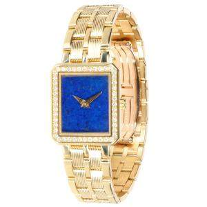 Piaget Blue 18K Yellow Gold Protocole 5355 M601D Women's Wristwatch 5 x 19.5 MM