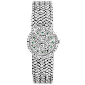 Piaget Silver Emerald And Diamonds 18K White Gold Vintage Cocktail 9706 Women's Wristwatch 26 MM