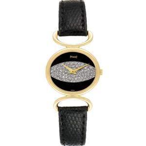 Piaget Black Diamonds 18K Yellow Gold Classique Vintage 9802 Women's Wristwatch 27 x 23 MM