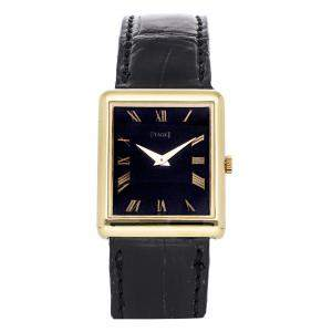 Piaget Black 18K Yellow Gold Vintage Rectangle 9150 Women's Wristwatch 30 x 20 MM