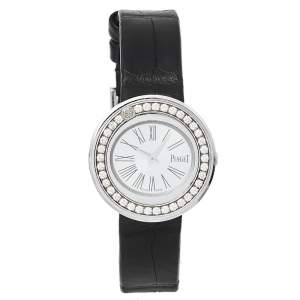 Piaget Silver 18K White Gold Leather Diamonds Possession GOA36187 Women's Wristwatch 29 mm