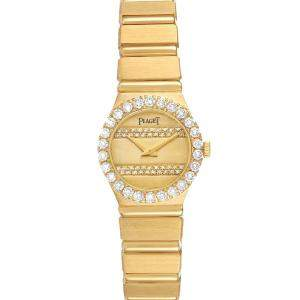 Piaget Champagne Diamonds 18K Yellow Gold Polo Quartz Women's Wristwatch 20 MM