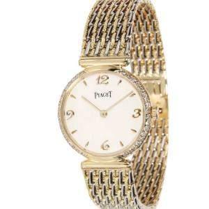 Piaget White Diamonds 18K Yellow Gold Dress 80552 P 31 Women's Wristwatch 23 MM
