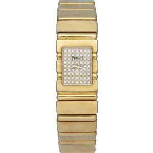 Piaget Silver Diamonds 18K Yellow Gold 15201C701 Quartz Women's Wristwatch 14 MM