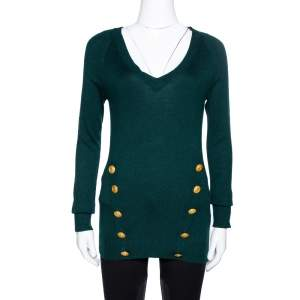 Pierre Balmain Green Cashmere & Wool Blend Button Detail Sweater S