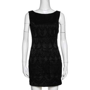 فستان بيير بالمين قصير ظهر مكشوف جاكار أسود مقاس صغير (سمول)