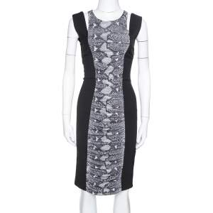 Pierre Balmain Grey Snakeskin Print Ruched Knit & Wool Fitted Dress S