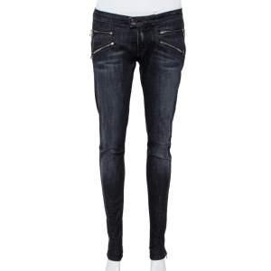 Pierre Balmain Black Denim Skinny Biker Jeans L