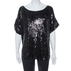 Pierre Balmain Black Sequin Embellished Oversized Knit Top M