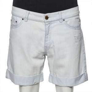 Pierre Balmain Light Blue Denim Distressed Shorts M
