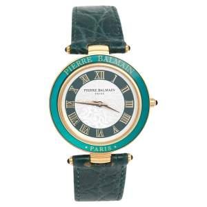 ساعة يد نسائية بيير بالمين 176 ستانلس ستيل مطلي بالذهب وجلد أبيض وأخضر 33 مم