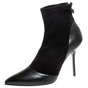 Pierre Hardy Black Suede And Leather Dolly Pointed Toe Ankle Boots Size 42