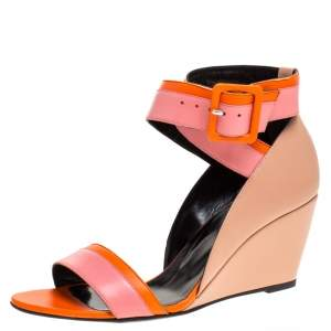 Pierre Hardy Tri Color Leather Ankle Strap Wedge Sandals Size 39